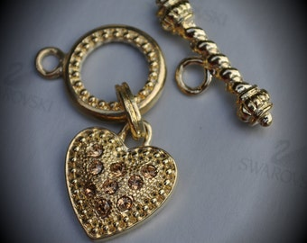 Genuine Large Gold Plated Swarovski Crystal Heart Toggle Clasp - Light Colorado Topaz