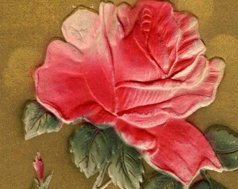 Pretty Antique Embossed And Air Brushed Red Rose Postcard Cancelled 1909