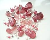 BULK Strawberry Pink Peach-Swarovski Crystals-Bicones - Pearls - MOP Teardrop - Cherry Quartz Oval - Silver Bead Caps - Over 145 loose beads