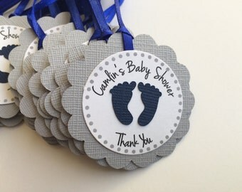 12 Grey Baby Shower Personalized Tags with Baby Footprints.  Perfect for Baby showers or 1st birthday parties.  Favor Tags.