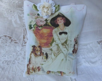 Gorgeous Dog Lover's Gift Sachet, Lavender Sachet, Antique Harrison Fisher Girl with Her Dogs, Edwardian, Hydrangeas, Cabbage Rose