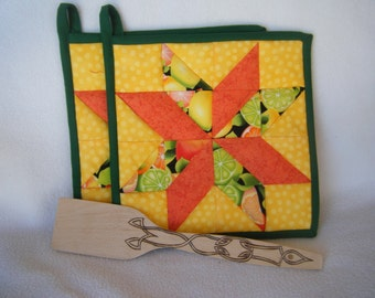 Orange, Yellow and Citrus Fabric Quilted Star Potholders - Set of 2 - HANDMADE BY ME