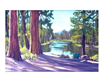 "Small Print Oregon Landscape Deschutes River ""Dad's Place""  Matted 5x7 inches"
