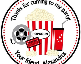 Movie Night Themed - Party Favor Tags