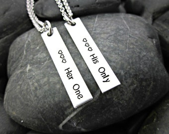 Her One His Only - Couple's Necklace - Stainless Steel