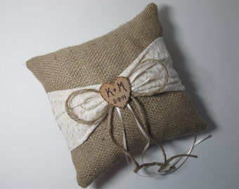 Personalized Rustic Burlap Wedding Ring Bearer Pillow With Ivory Muslin and Lace Sash
