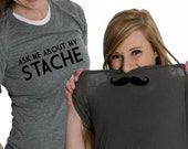Women's Ask Me About My Stache Flip T-Shirt ladies, girls, mustache, flipover, gift, present for her, screen pritned, tshirt, shirt S-2XL