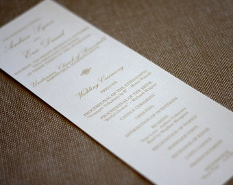 Wedding Ceremony Programs- 2 sided printing- Gold and White