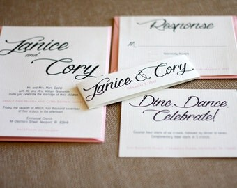 Simple, Classic,  Fancy Script Wedding Invitation Suite- Black, White and Pink