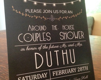 Modern Black and Gold Shower Invitation