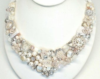 Whisper Pink Statement Necklace-Blush Bib Necklace- Soft Pink Bridal Bib- Blush Necklace- Champagne Pink Bridal Bib-Pink Pearl Statement Bib