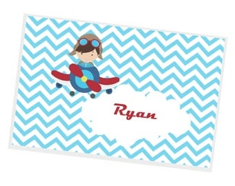 Airplane Personalized Placemat - Airplane Pilot Blue Chevron with Name,Customized Laminated Placemat