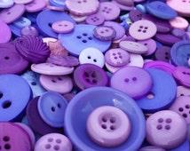 100 Mixed Sugar Plum Fairy Bulk Buttons - Dark Purple, Light Purple, Lavender, Violet Purple, Blue Violet, Pastel Pink, White, multi sizes