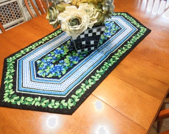 Vintage Handmade Black, Blue, and Green quilted table runner for Christmas, holiday, Xmas, home decor by MarlenesAttic