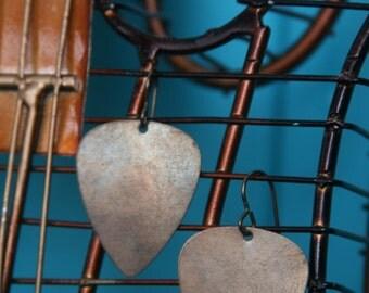 Brass Guitar Pick Earrings
