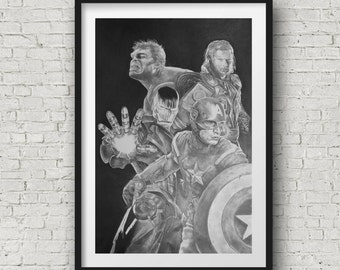 comic art - Art Print - Avengers art poster black and white - hulk captain america Iron man thor
