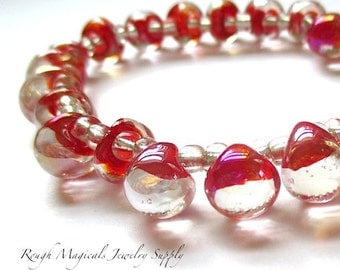 Chunky Teardrop Glass Beads, 8mm Clear & Red Drop Beads - 19 Pieces