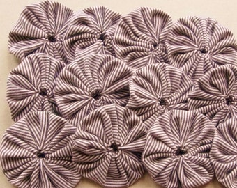 2 inch fabric yoyos in tan and white eco friendly cotton knit fabric--matching lot of 15