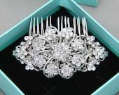 Bridal Hair Comb, Wedding Hair Comb, Vintage Style Hair Comb, Eight Petals Flower Rhinestone Crystals Hair Comb, Flower Hair Accessory