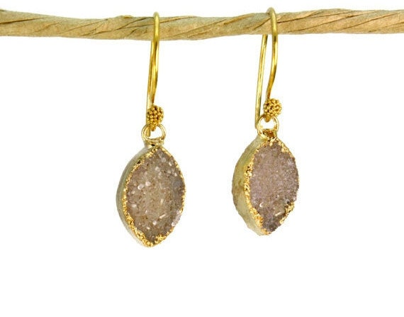 Simple Druzy Earrings. Marquise Druzy. 22k Gold Vermeil Leaf Shaped Earrings E-1108