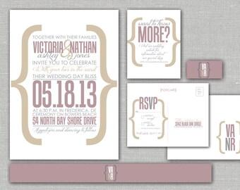 "Printable Wedding Invitation, RSVP, Info card, Monogram with Contemporary Neutral Design - Modern, Custom design - ""Modern Merriment"""