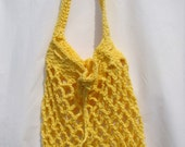 Crochet Market Bag, Eco Friendly Tote, Mesh Produce Bag, Yellow Grocery Bag, Crochet Produce Bag, Eco Friendly Bag, Mesh Market Bag