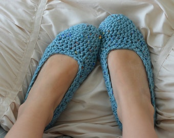 Women's Seablue Speckled Crochet Slippers -house shoes