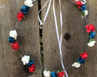 labor day, red white and blue, Rose crown, headband,  4th, of, july, plur, Festival, Coachella, team, colors, patriots, rave, edm