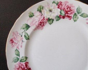 Crown Staffordshire Roses VTG Plate English Bone China Transfer Ware Pink Roses Accent Plate Afternoon Tea Home Decor