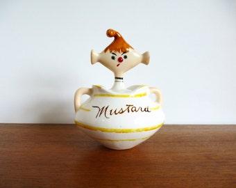 Vintage Davar  Pixieware Mustard Jar with Spoon.