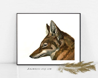 WOLF Art Print - Instant Download - printable antique wolf illustration for framing, cabin walls, clothes, totes, nursery, cards, tags