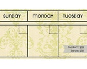 6 Week Dry/Wet Erase CALENDAR MAGNET SET: Cream and Green Vintage Color.  Choose Your Font. Frame not included.