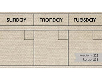 TAN Dry Erase Perpetual Calendar Set --Choose Your Font. Frame not included.
