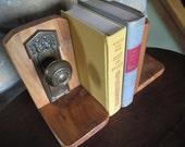 Pair Brass Door Knob Book Ends, Wooden, Handmade, Vintage, Elegant, Architectural, Library Accent, Office Decor, Den, Bedroom, Living room