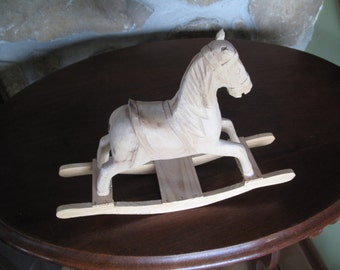 Wooden Rocking Horse Blank, For Painting, Carved Wood, Toy, Missing Tail and Ear, Christmas, Craft, Wood