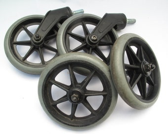 4 Wheels, 2 swivel, 2 axle, Wheelchair, Cart, Large, Black, Gray, lot of 4, set of four