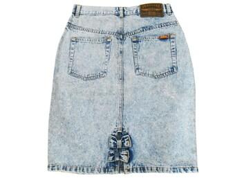 Denim Skirt/ Acid Wash Skirt/ 90s Denim Skirt/ 90s Skirt/ Jean Skirt/ Pastel Goth/ Jordache Jeans/ Seapunk/ Jordache/ A Line Denim Skirt