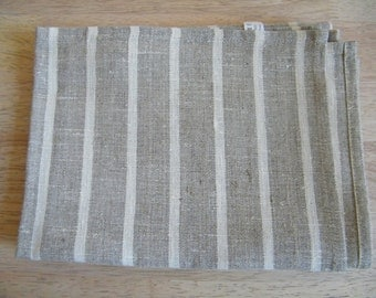 A lot of 8 100% Natural Linen Dish / Hand towels Gray with offwhite Stripe Linens, Leinen, Lin
