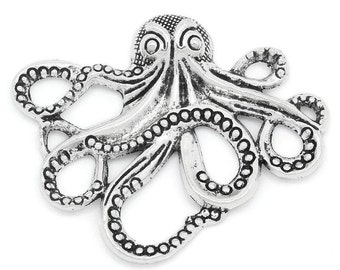 1pcs Antique Silver Octopus Pendant - 43x35mm - Charm, Jewelry Finding, Jewelry Making Supplies, Necklace, Bracelet, Ships from the USA -A39