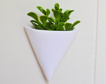 Trending Puffed Triangle, Wall Mounted  Planter, White