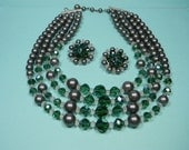 Classic Elegant Green and Grey Jewelry Set, Necklace and Earrings,  Vintage