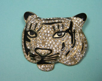 Fabulous Tiger Brooch, Black, Clear Rhinestones, Just Reduced Vintage Figural