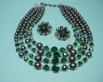 Elegant Green and Grey Jewelry Set, Necklace and Earrings, Vintage, Just Reduced