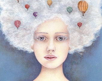 Head in the Clouds, Art Print, Whimsical, Gift, Girl's Room Decor, Bedroom Art, Hot Air balloons, Watercolor Print