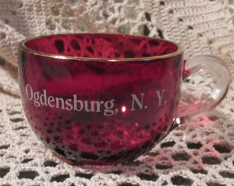 Vintage Cranberry Glass Souvenir Punch Glass Marked Ogdensburg, New York