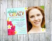 Hawaiian Luau Photo Graduation Announcement or Party Invitation - Printable