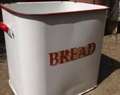Vintage enamel bread bin, enamel container, enamelware storage