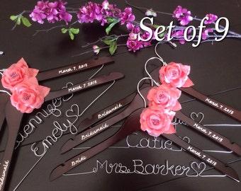 Set of 9---Personalized Hanger,  Custom Bridal Hangers,Bridesmaids gift, Wedding hangers with names,Custom made hangers