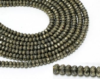 "GU6089-2 - A Grade Pyrite Faceted Rondelles - 5x8mm - Gemstone Beads - 16"" Full Strand"