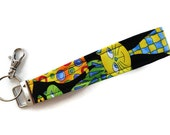 Wristlet for Keys, Key Fob, Keychain, Wristlet Key Chain, Keychain with Large Swivel Lobster Clasp  Packed Cats Print.